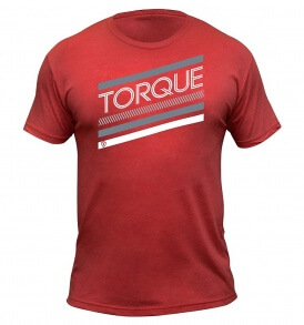 Torque stacked red t shirt
